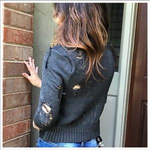 Jackets & Blazers - Retro chic black denim/sweater distress jacket